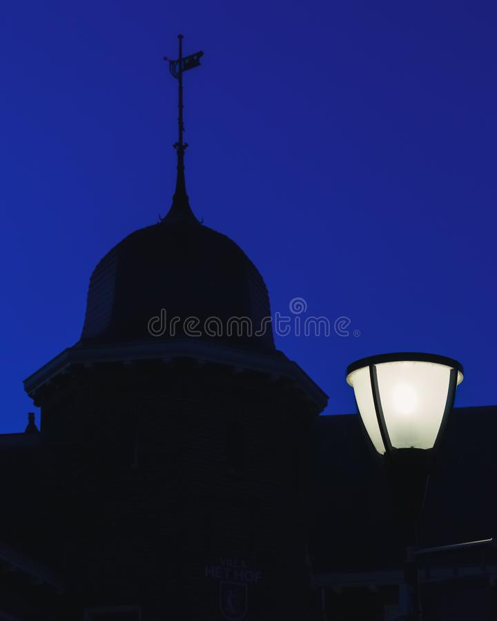 Lamp post. Boxtel, Netherlands at night royalty free stock photo
