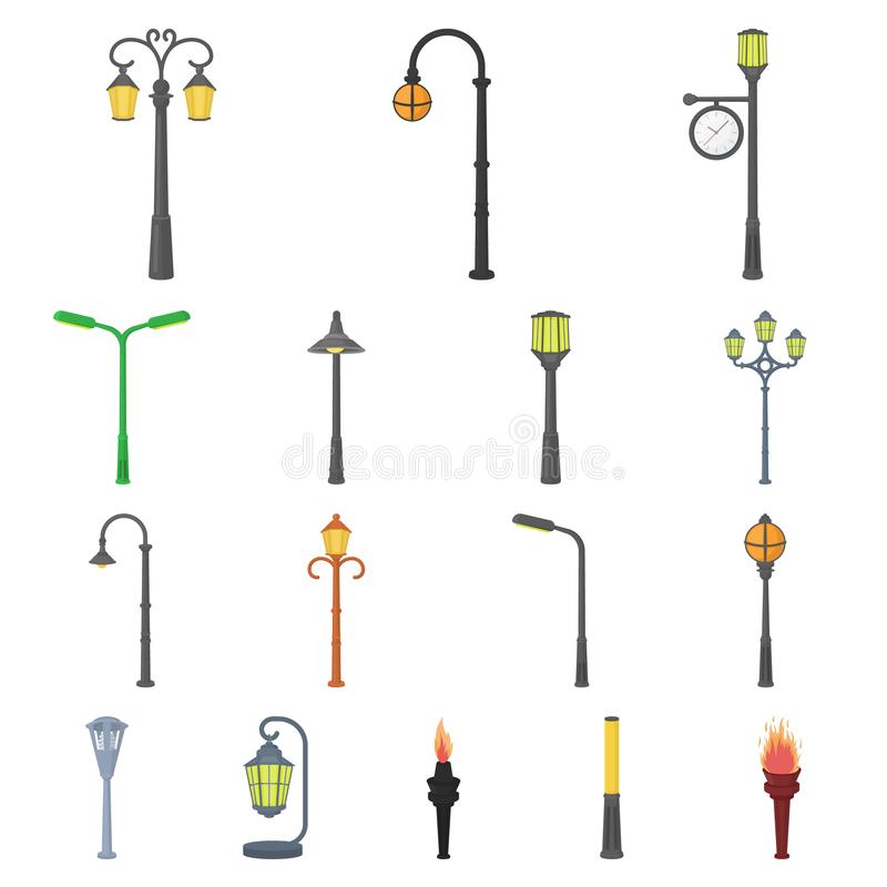 Lamp post cartoon icons in set collection for design. Lantern and lighting vector symbol stock web illustration. royalty free illustration
