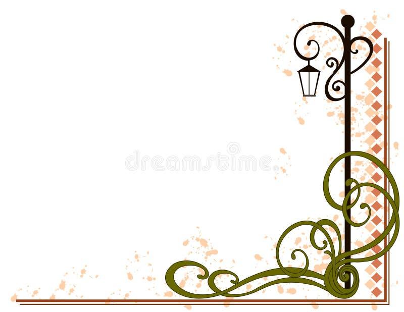 Lamp Post Decorative Flourish stock illustration