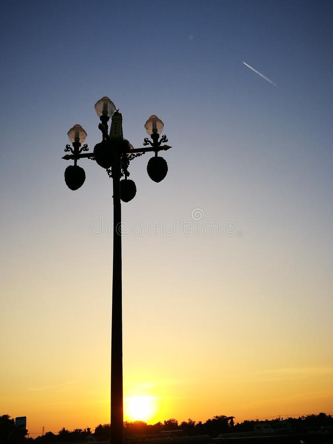 Lamp post in evening royalty free stock photos