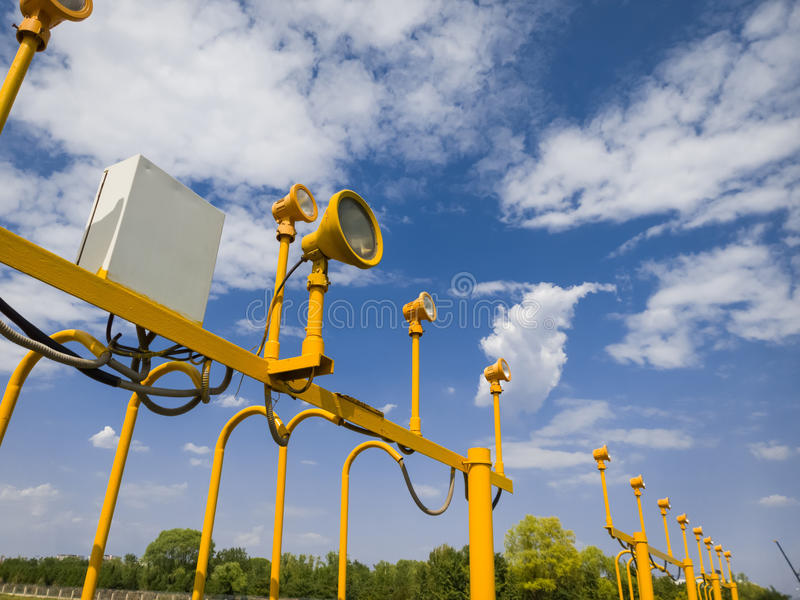 Lamp post. Guiding planes for landing royalty free stock photo