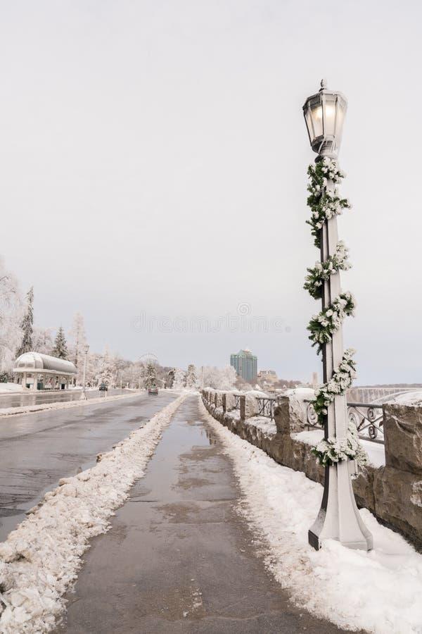 Niagara Falls walkway at Christmas stock image