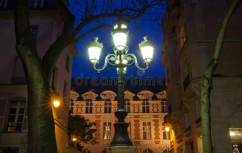 Download The Lamp Post On Place De Furstenberg At Night, Paris, France.  Stock