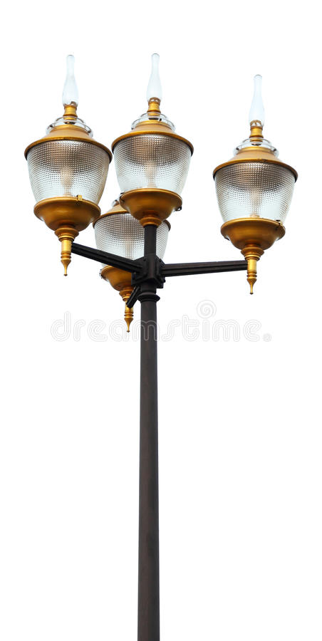 Lamp postdieelektriciteit op wit wordt geïsoleerd stock foto