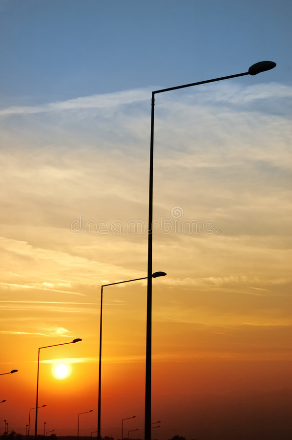 Free Lamp Posts At Sunset Stock Photography - 3220792