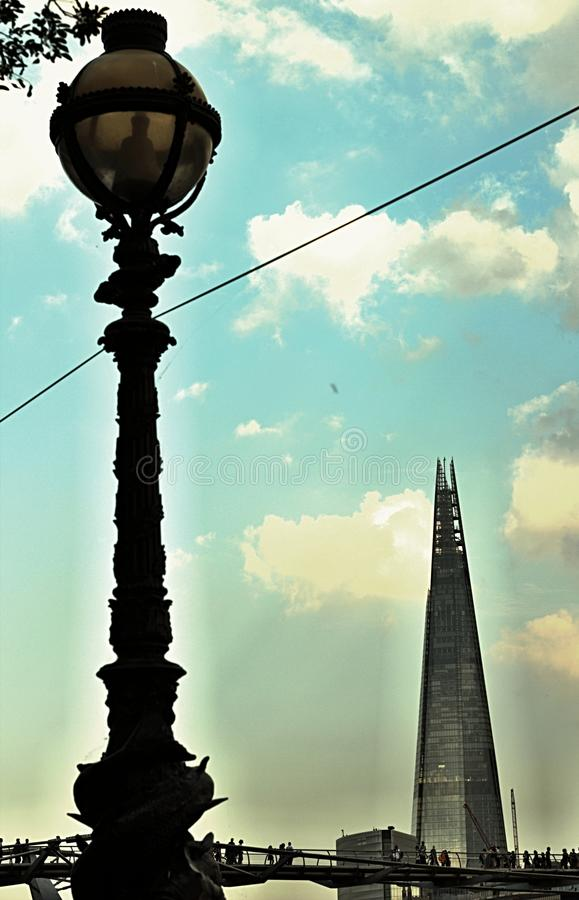 The lamp and the Shard royalty free stock photography