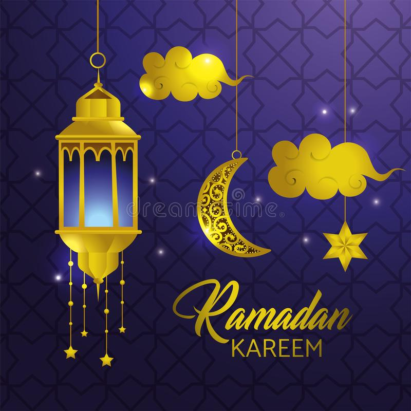 Lamp with star and clouds hanging to ramadan kareem vector illustration