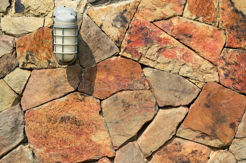 Download Lamp on stone wall stock image. Image of urban, building - 23643447