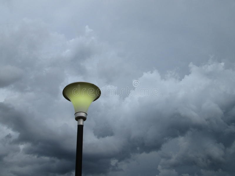 Lamp and storm. utility pole stock photo