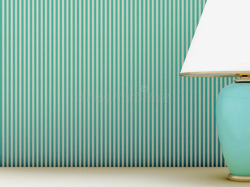 Lamp and striped wallpaper. Part of the lamp standing on the background of striped wallpaper royalty free stock image
