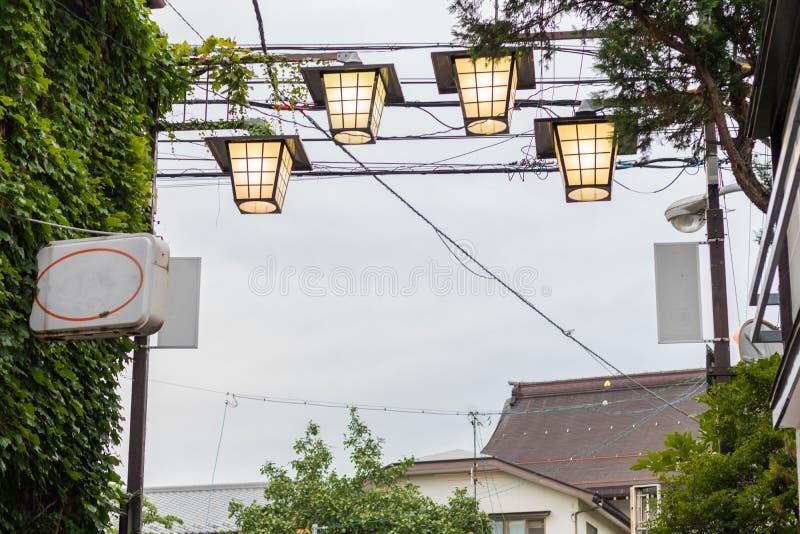 Lamp van de het winkelen straat van Nagano, Japan stock afbeelding