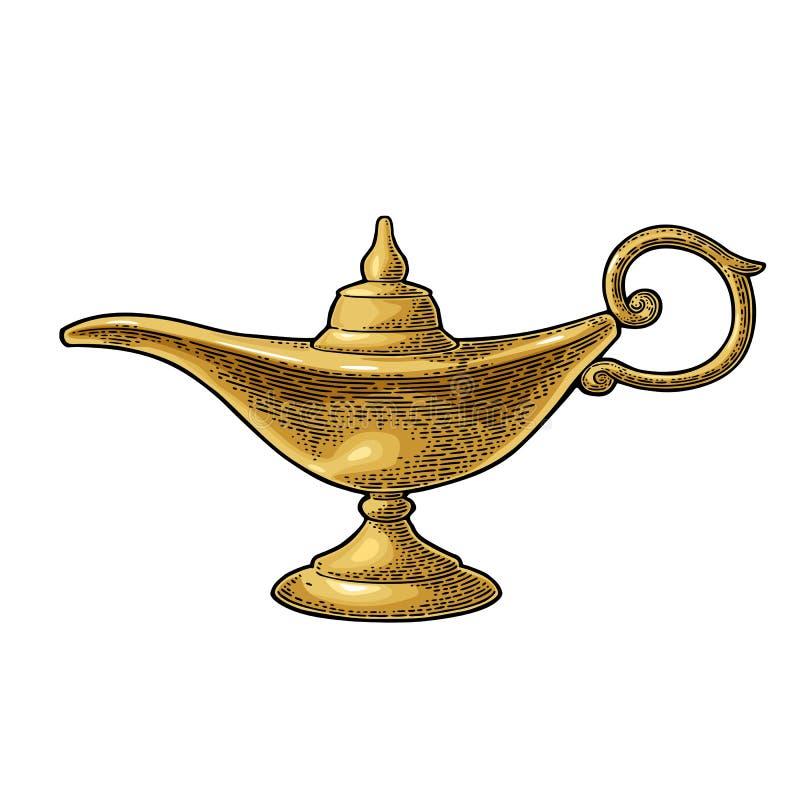 Lamp van het Aladdin de magische metaal Vector zwarte uitstekende gravure royalty-vrije illustratie
