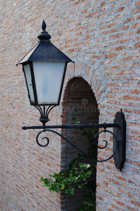 Lamp and wall brick. Out side a Thai Restaurant in Bangkok Thailand stock images