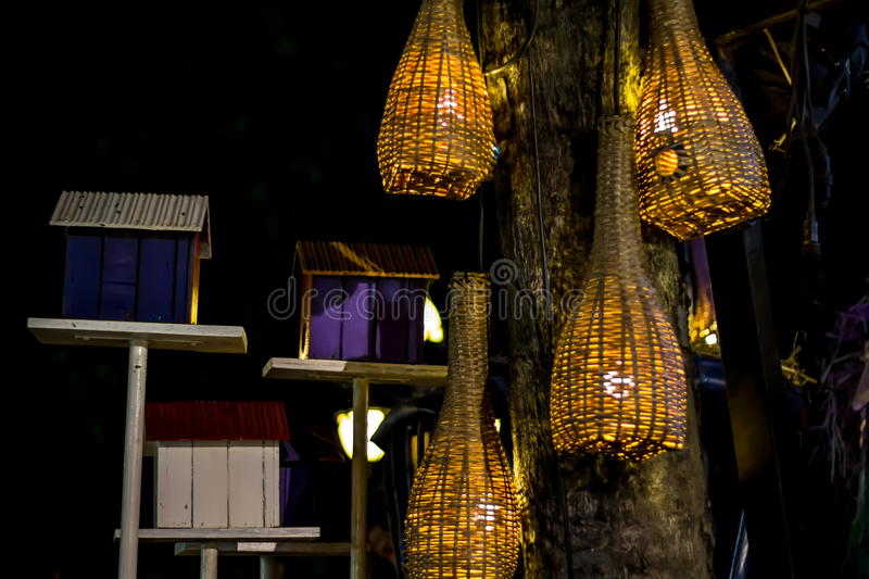 Lamp from wicker bamboo. stock image