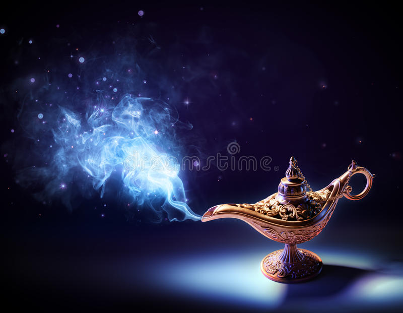 Lamp Of Wishes - Magic Smoke Coming Out stock photos