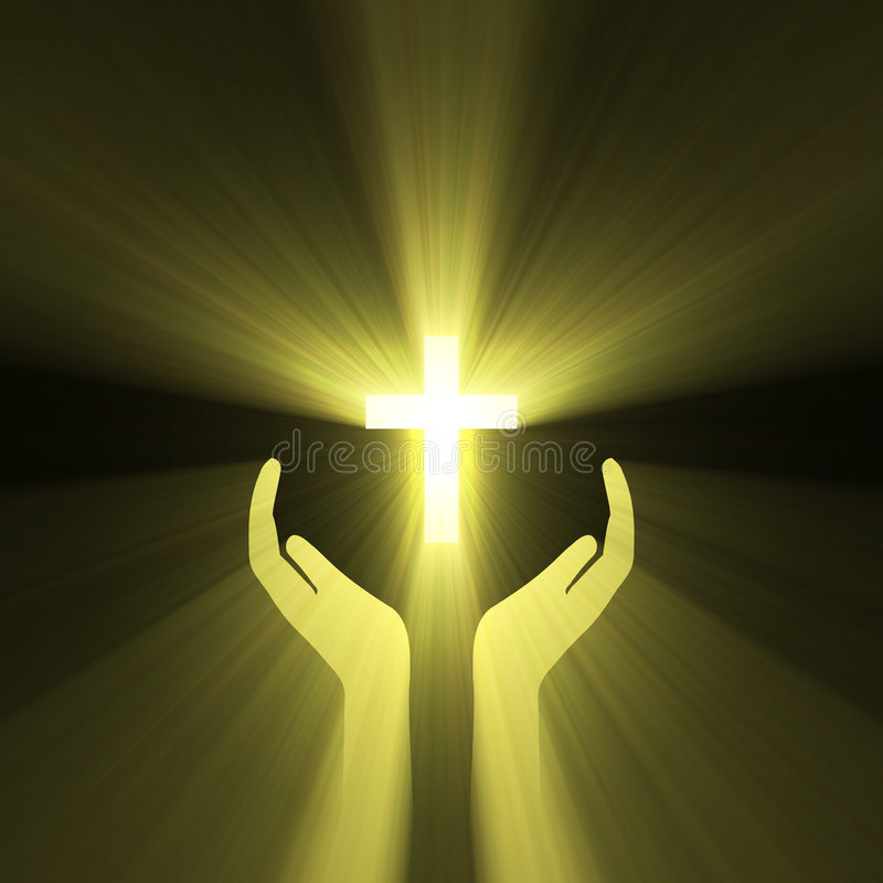 lampa för hand för gud för korsomfamningsignalljus royaltyfri illustrationer