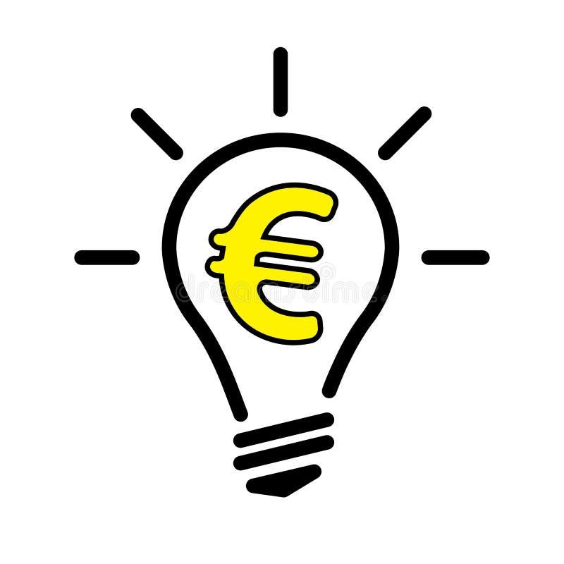 Lampa för ljus kula med eurovalutasymbol royaltyfri illustrationer