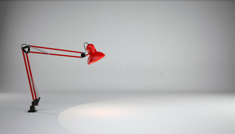 Lampa iluminuje podłoga w szarym fotografii studiu fotografia stock