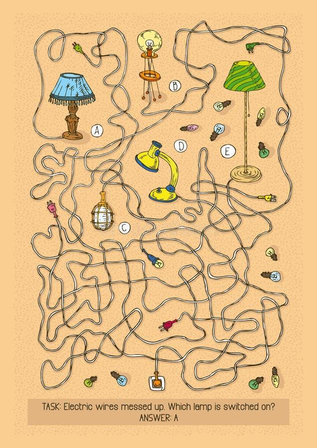 Lampa Maze Game stock illustrationer