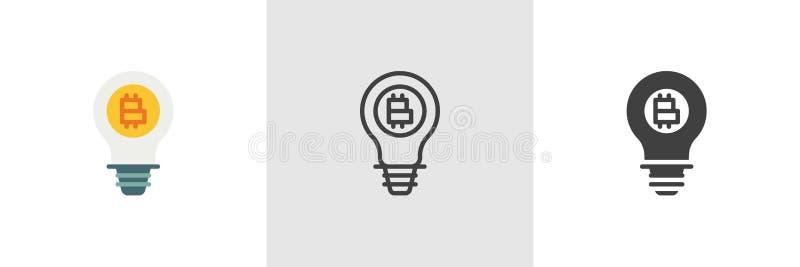 Lampa med bitcoinsymbolen royaltyfri illustrationer