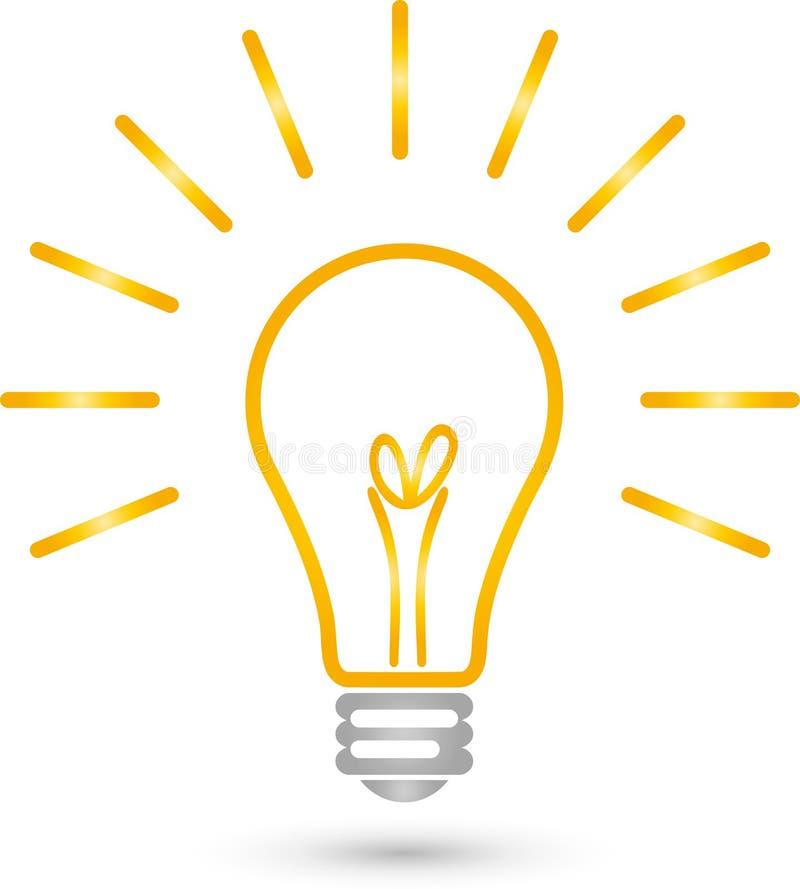 Lampa med ljus-, lamp- och elektrikerlogo stock illustrationer