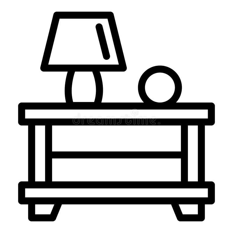 Lampa na wezgłowie stołu ikonie, konturu styl ilustracji