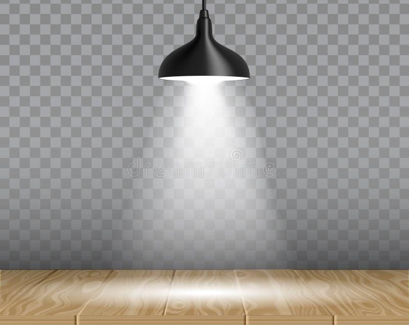 Lampa nad stołową wektorową realistyczną ilustracją ilustracja wektor