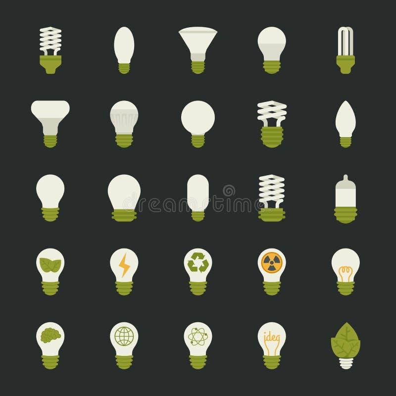 Lampa och begrepp för ljus kula, symbolsuppsättning vektor illustrationer