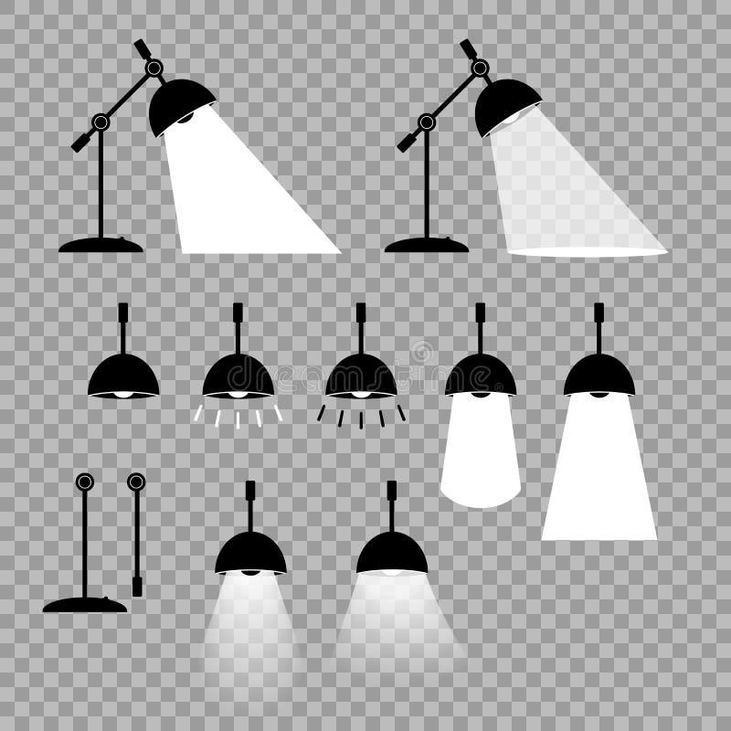 Lampa vektor Fabrikstillverkade delarna till beståndsdelar, justerbara positioner för din design Olika varianter av belysningen a stock illustrationer