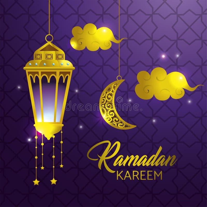 Lampa z chmurami i księżyc wiesza Ramadan kareem royalty ilustracja