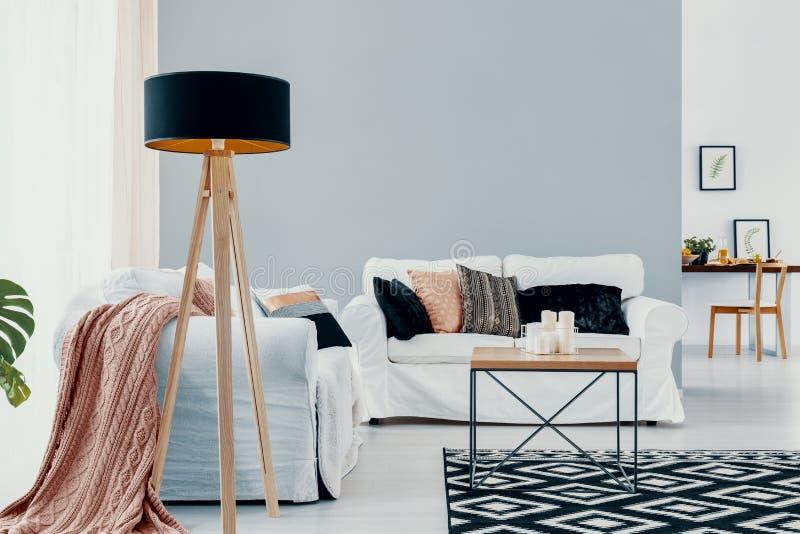Lampada accanto al sofà bianco con la coperta rosa nell'interno dello spazio aperto con tappeto e la tavola Foto reale fotografia stock libera da diritti
