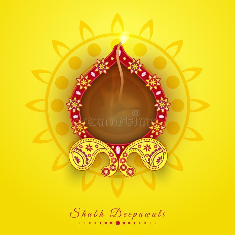 Lampada accesa illuminata floreale per la celebrazione felice di Diwali illustrazione di stock