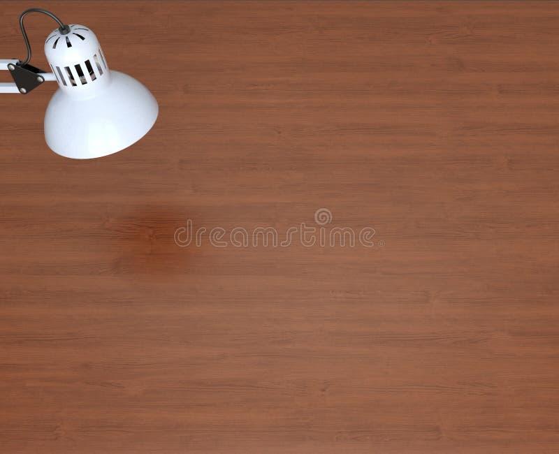 Lampada bianca e tabella di lavoro di legno illustrazione vettoriale