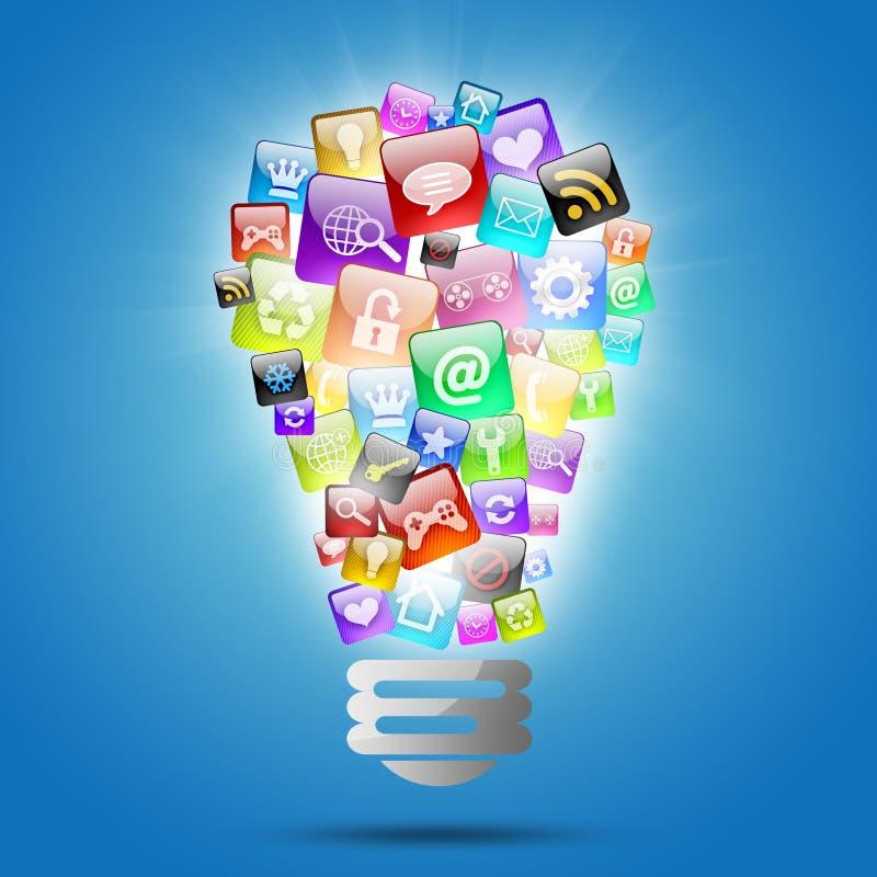 Lampada che consiste delle icone dei apps royalty illustrazione gratis