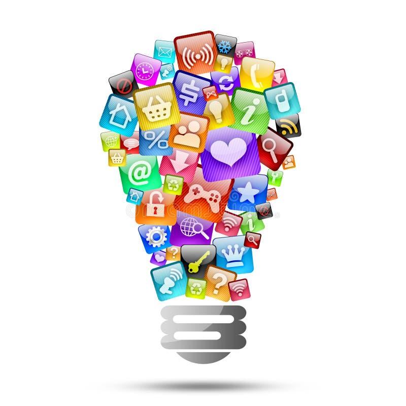 Lampada che consiste delle icone dei apps illustrazione vettoriale