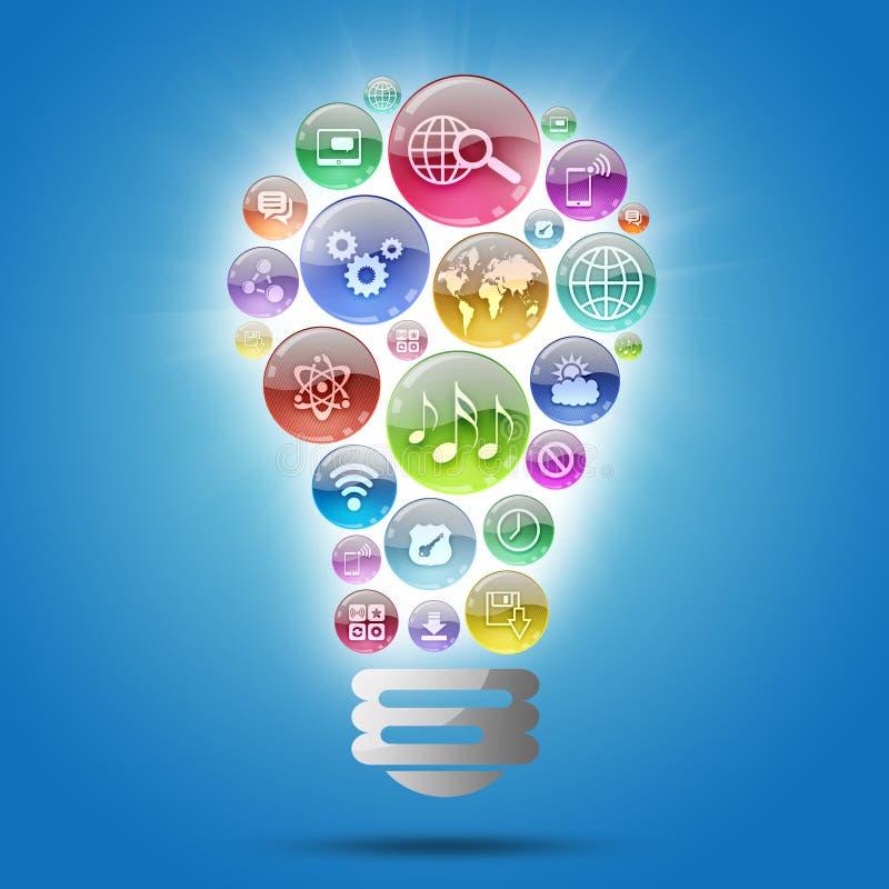 Lampada che consiste delle icone dei apps illustrazione di stock