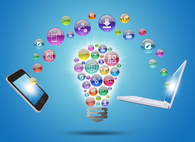 Lampada che consiste delle icone, del telefono e del computer portatile dei apps royalty illustrazione gratis