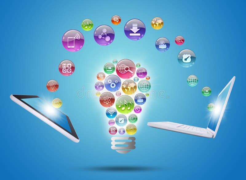Lampada che consiste delle icone, della compressa e del computer portatile dei apps illustrazione di stock