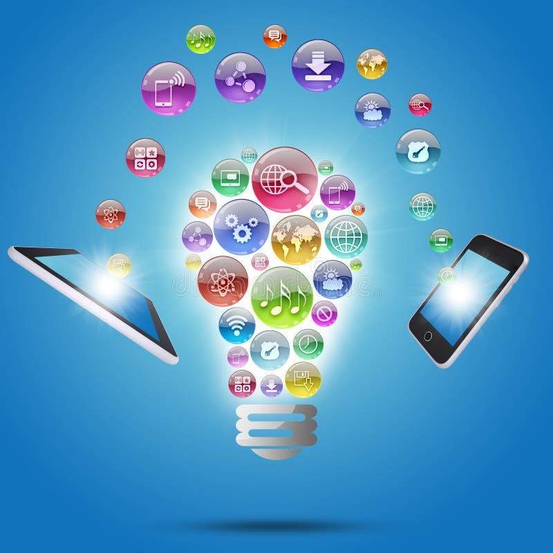Lampada che consiste delle icone, della compressa e del telefono dei apps illustrazione di stock