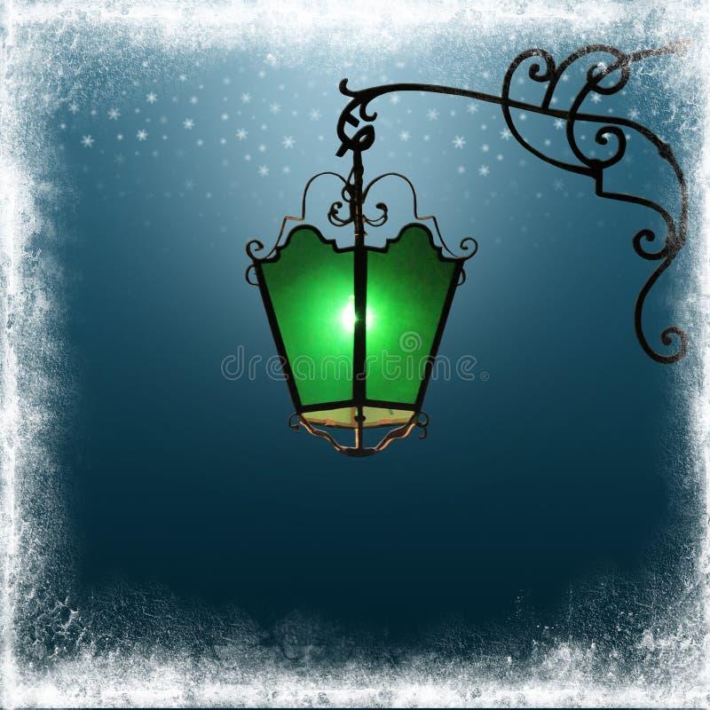 Lampada, cielo blu e blocco per grafici di via del ferro illustrazione di stock