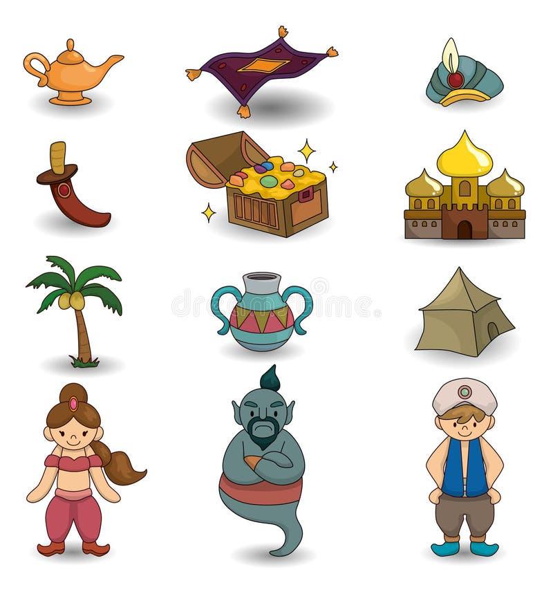 Lampada del fumetto dell'icona di Aladdin illustrazione di stock