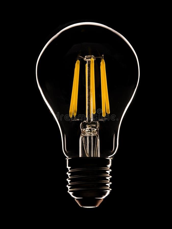 Lampada del LED sul nero fotografie stock libere da diritti
