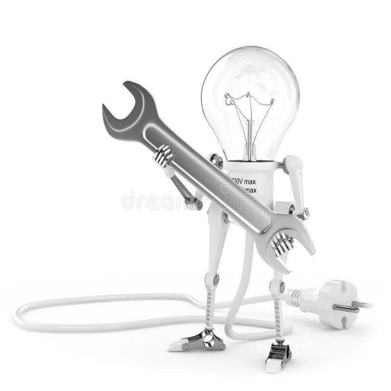 Lampada del robot, elettricista con la chiave illustrazione di stock