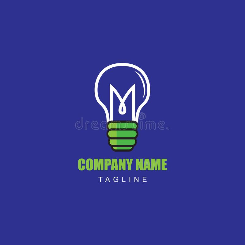 Lampada dell'illustrazione di vettore di idea con la lettera iniziale m. per la società di logo dell'elettricista fotografia stock