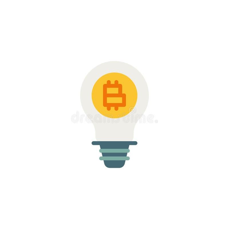 Lampada della lampadina con l'icona piana di Bitcoin illustrazione vettoriale