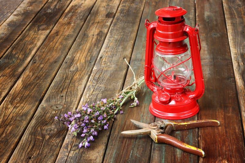 Lampada di cherosene d'annata rossa e fiori prudenti sulla tavola di legno. concetto di arti. immagini stock