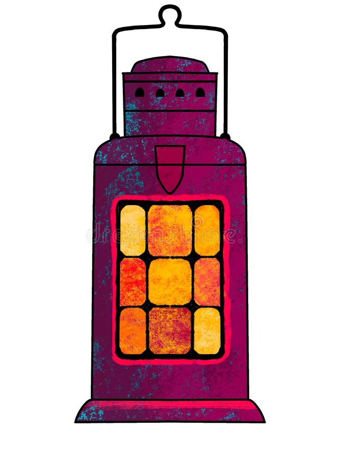 Lampada di cherosene dipinta Una candela, un candeliere sotto forma di lampada Illustrazione illustrazione vettoriale