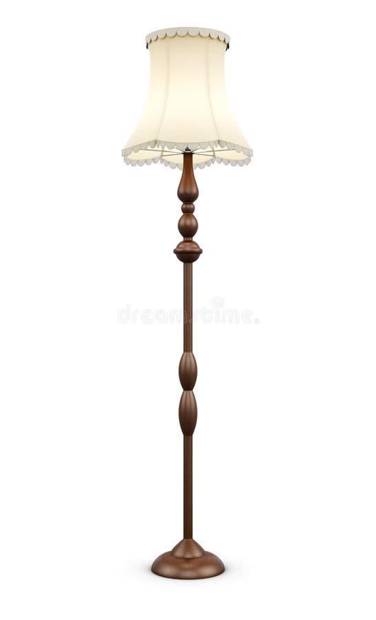 Lampada di pavimento su fondo bianco rappresentazione 3d fotografia stock
