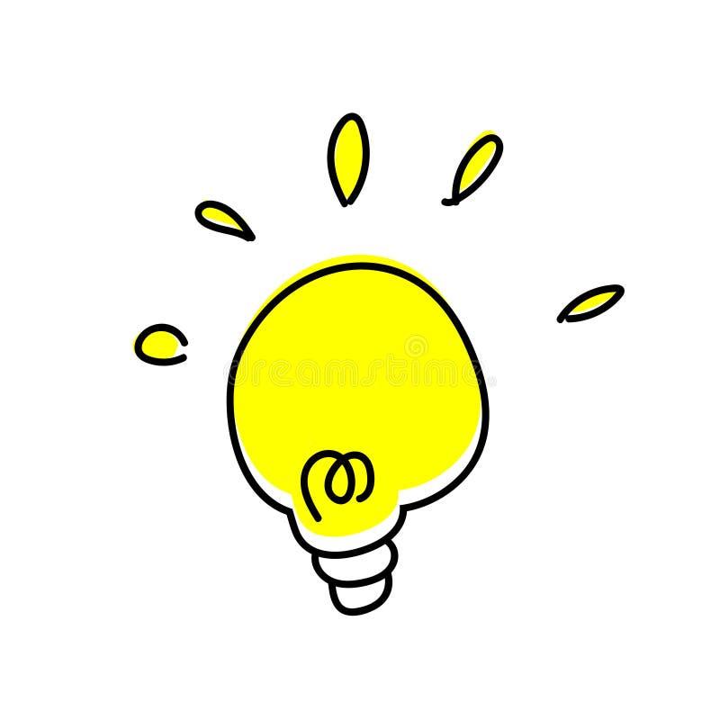 Lampada di scarabocchio - idea su fondo bianco illustrazione di stock