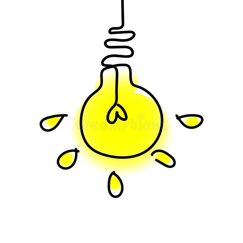 Lampada di scarabocchio - idea su fondo bianco illustrazione vettoriale